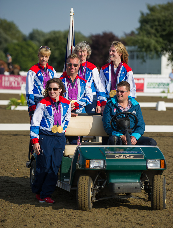 Paralympic equestrian medallists parade at the British Dressage National Championships 2012.