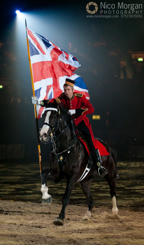 The Household Cavalry Flag charge during the Musical Ride