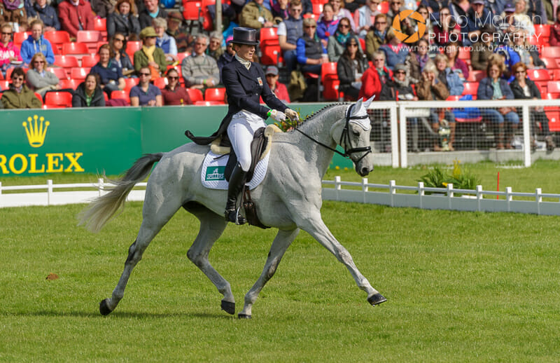 flora harris and amazing viii - Badminton Horse Trials - Nicholson and Nereo lead after dressage.