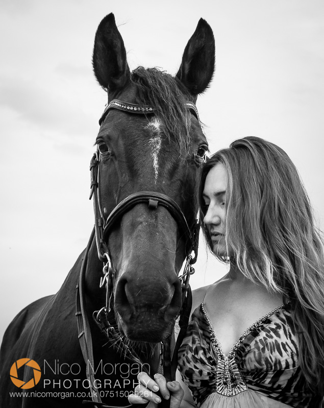 girl in dress with horse - Laura Keeley yard shoot, Bulby, Lincolnshire