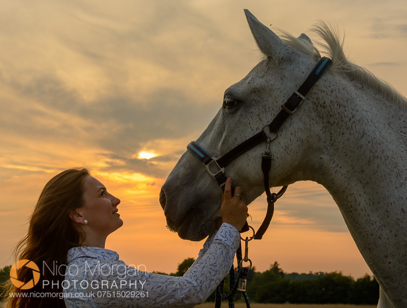 portrait of girl with grey horse at sunset - Laura Keeley yard shoot, Bulby, Lincolnshire
