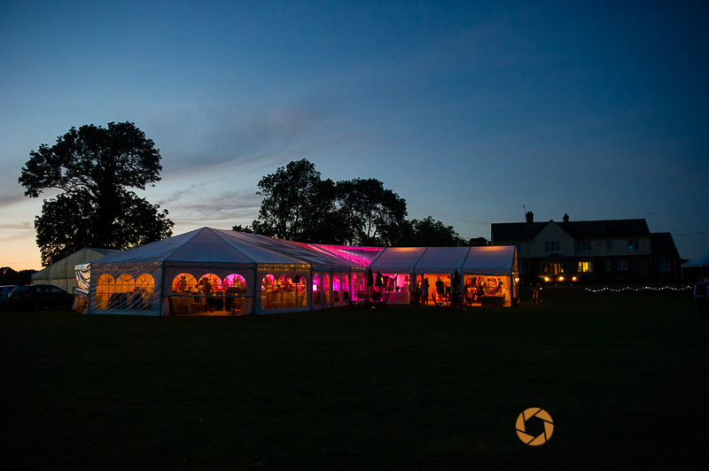 marquee at sunset