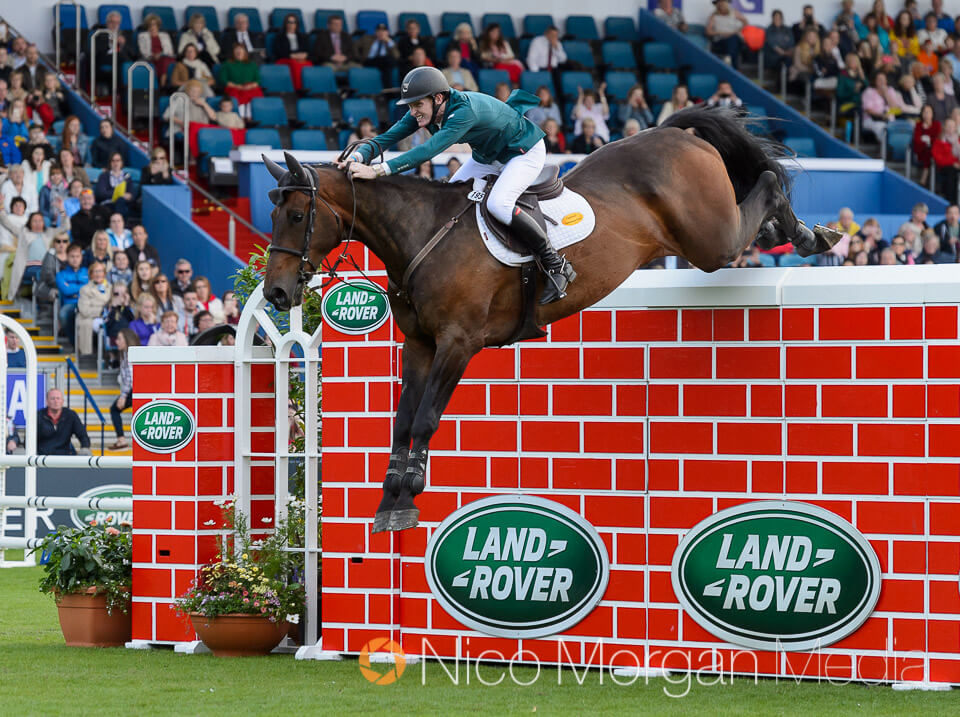 Daniel Coyle and Cavalier Rusticana share the puissance title at Dublin Horse Show 2017