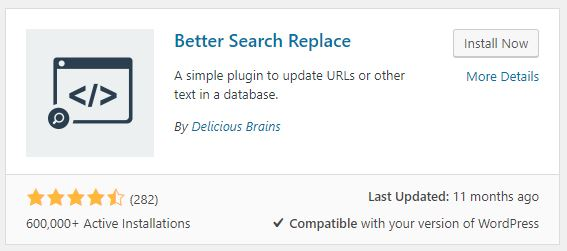 Better Search Replace interface