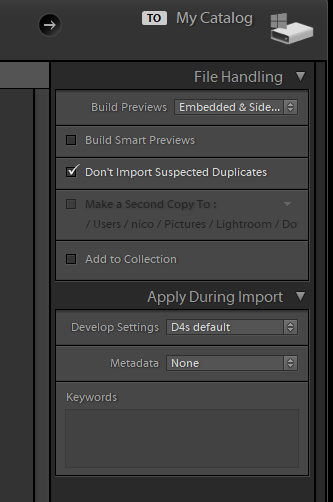 Adobe Lightroom import dialog catalog settings