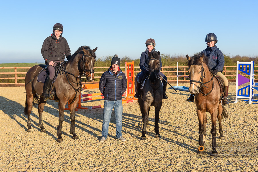 Cathal Daniels with some clients at Hyde Lodge Horses
